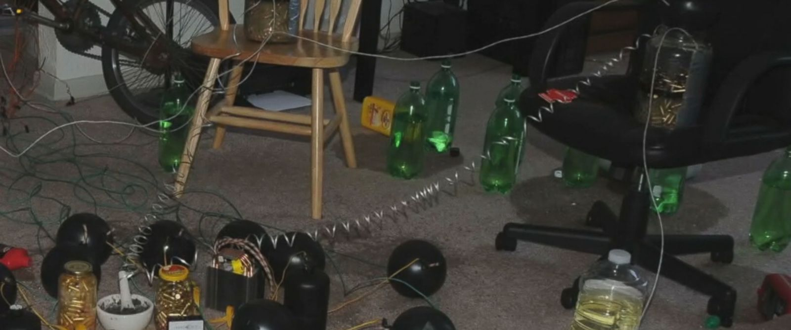 PHOTO: A still from unreleased video shows the Aurora movie theater gunmans booby-trapped apartment.