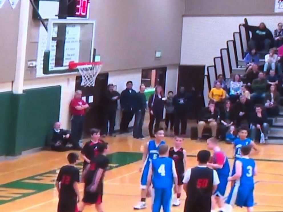 PHOTO: Michael Menges -- a 15-year-old basketball player with Down syndrome at Parkland Lutheran School in Tacoma, Washington -- scored a shot just before the end of a game on March 11, 2016, that made the crowd go wild.