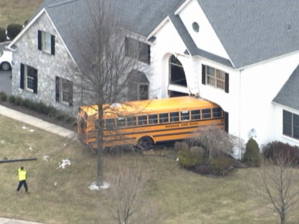 Pennsylvania school bus plows into house abc news for What goes into building a house