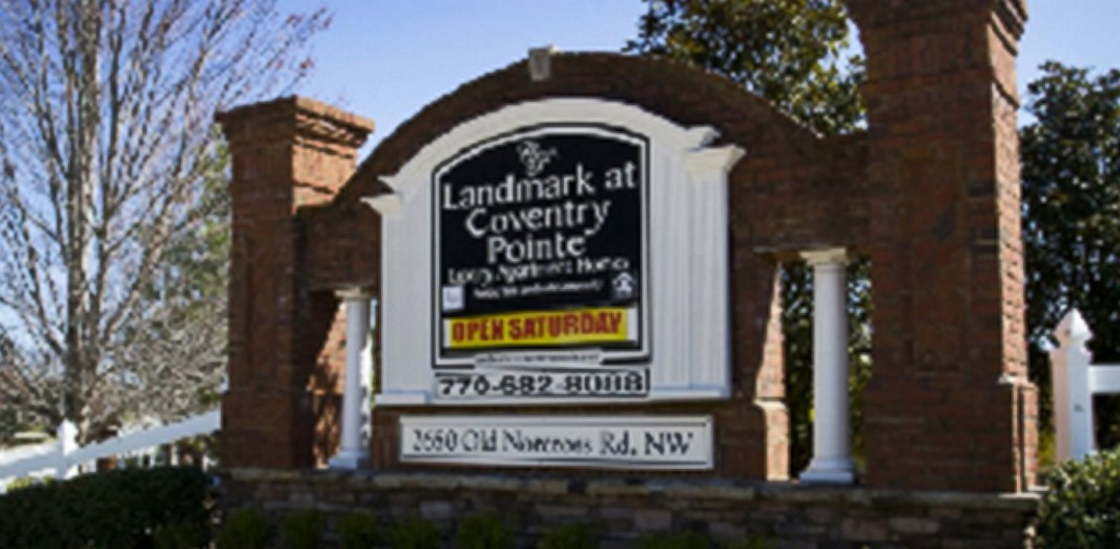 PHOTO: A sign for Landmark at Coventry Pointe apartment complex is shown in this photo from the companys website, www.landmarkatcoventrypointe.com.