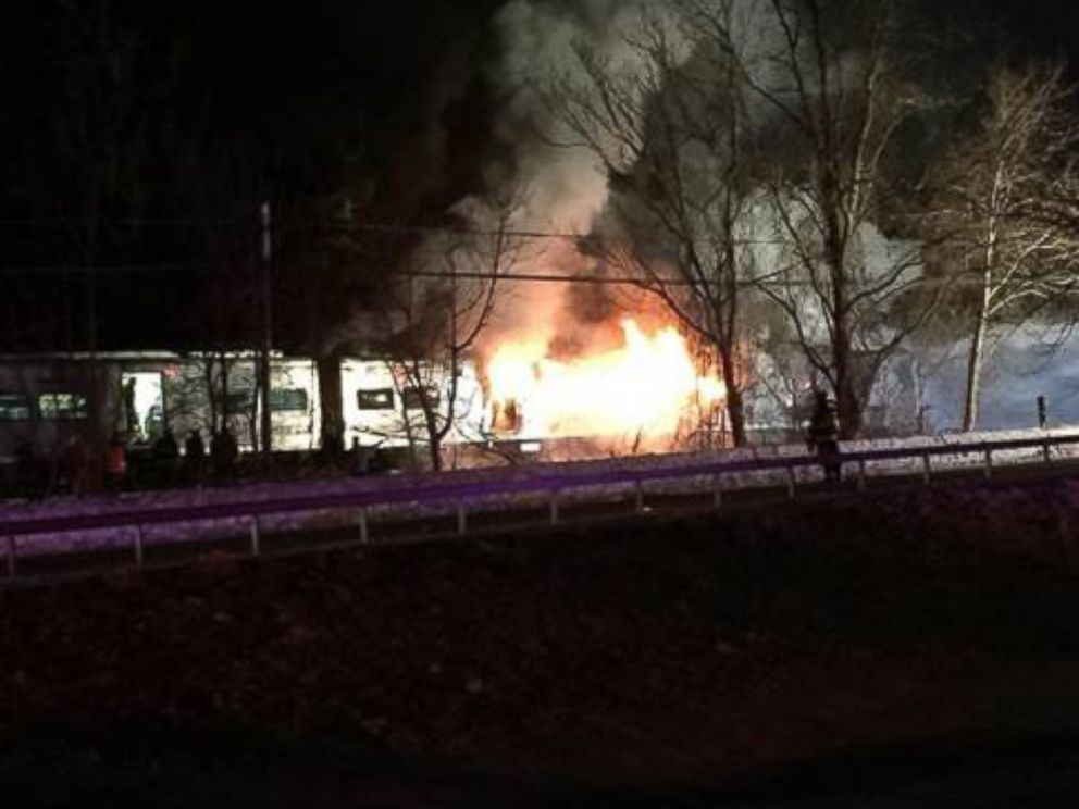 PHOTO: A Metro North train struck a car, sparking a fire, north of White Plains, N.Y., Feb. 3, 2015.