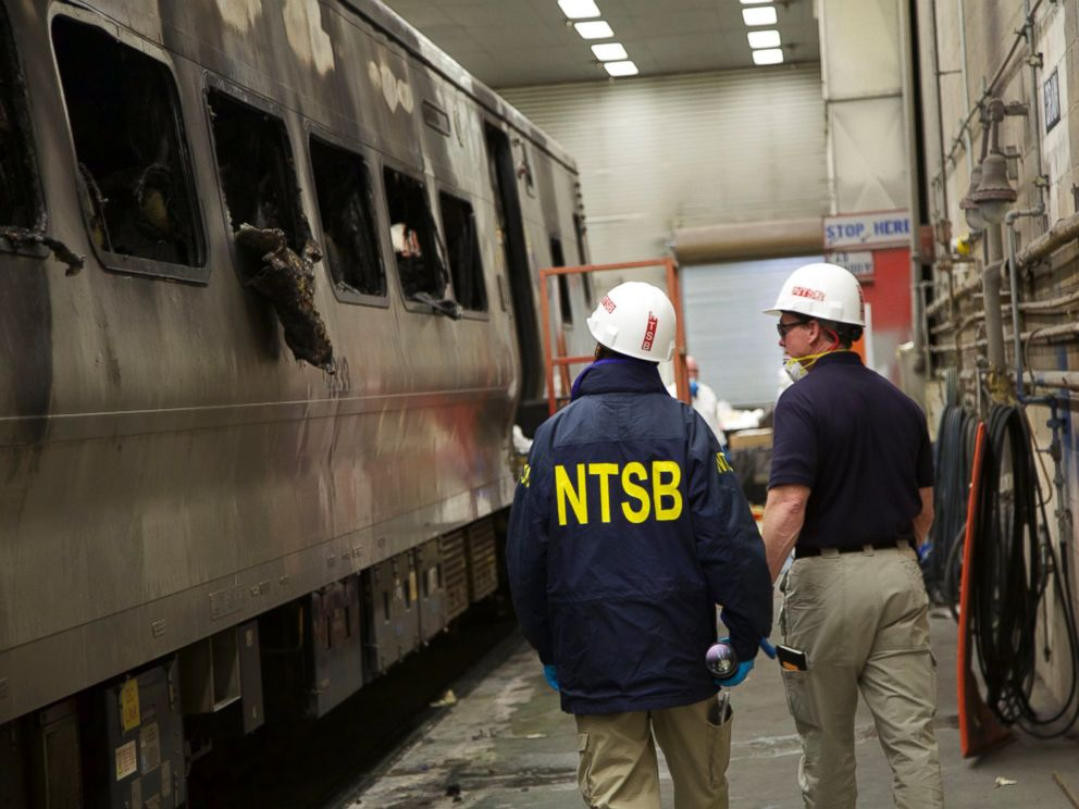 PHOTO: This photo posted to Flickr by the National Transportation Safety Board shows the damaged train involved in a Metro-North accident at a maintenance facility to be further examined, Feb. 4, 2015.