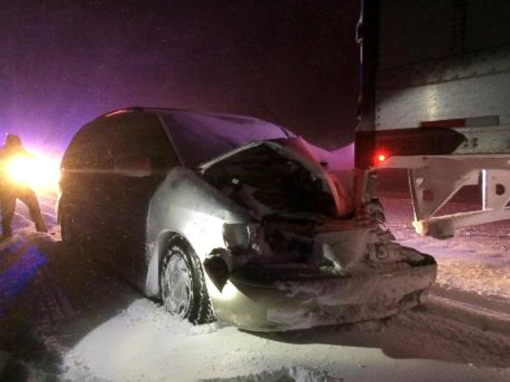 PHOTO: The truck driver didnt realize a minivan was attached to his truck, so he drove for a reported 16 miles.