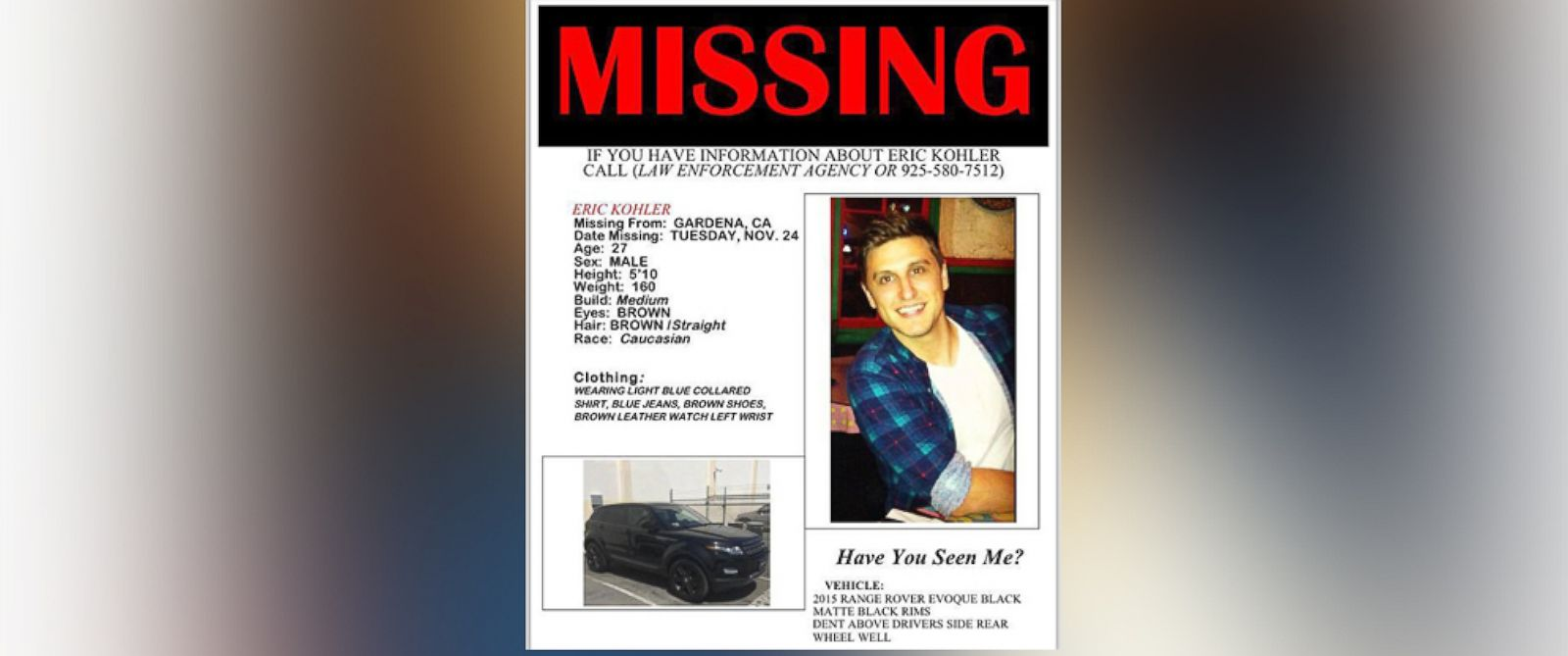 PHOTO: Eric Kohler is seen here in this missing poster.