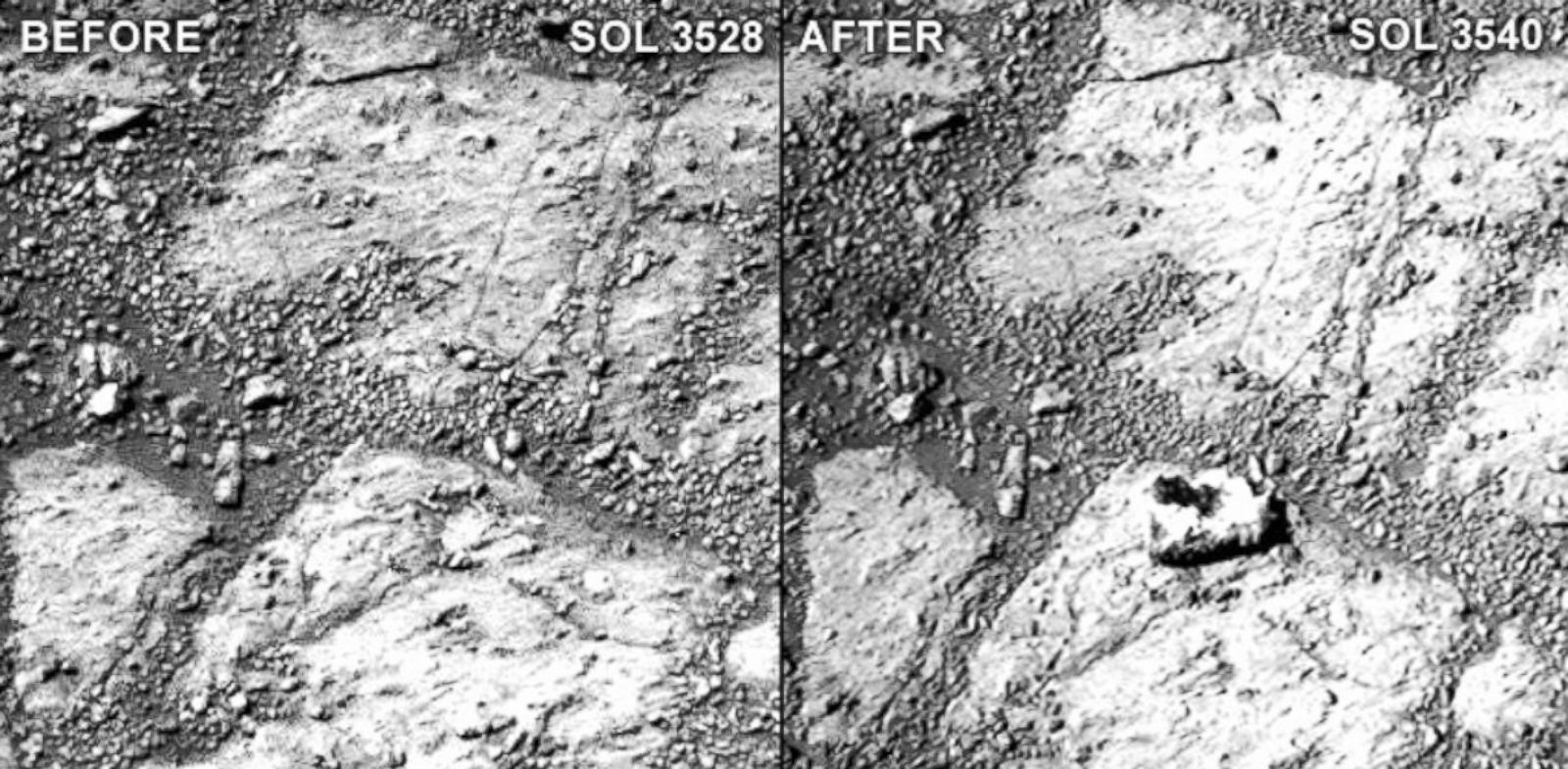 "PHOTO: A comparison of two raw Pancam photographs from sols 3528 and 3540 of Opportunitys mission (a sol is a Martian day). Notice the ""jelly doughnut""-sized rock in the center of the photograph to the right."