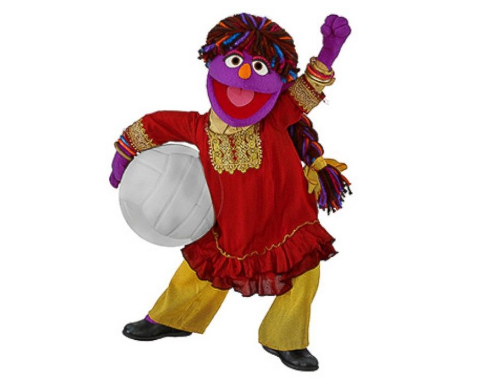 PHOTO: A Sesame Street Afghan Muppet, Zari, makes its debut, April 7, 2016.