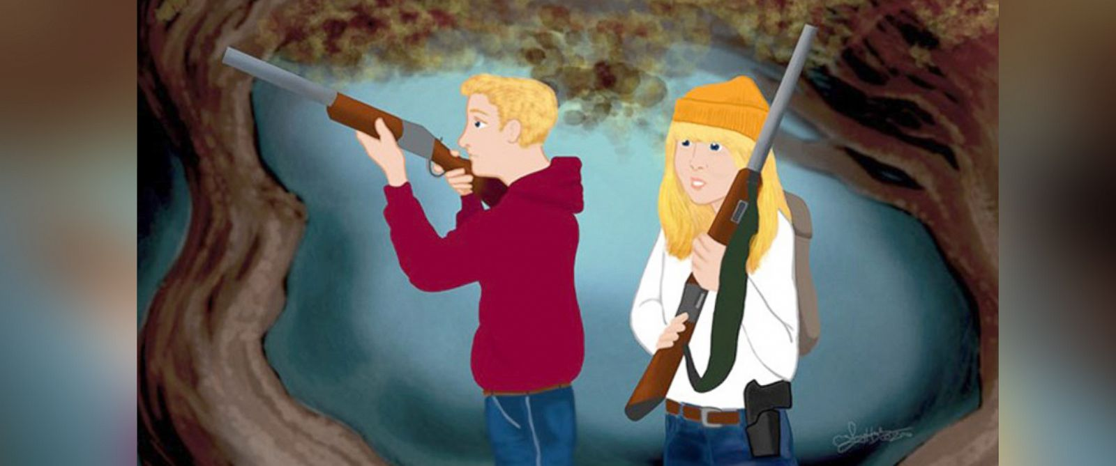 PHOTO: In the NRA Familys revised fairy tale, Hansel and Gretel are supplied with rifles while lost in the woods.