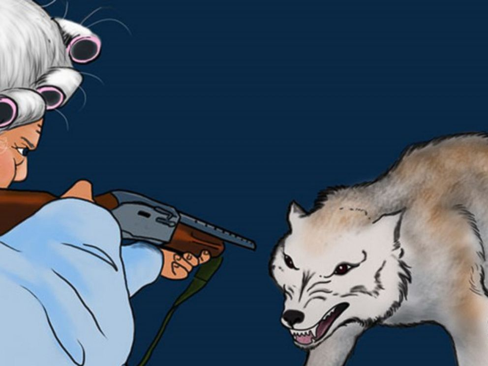 PHOTO: Little Red Riding Hoods grandmother uses a gun to fend off the Big Bad Wolf in the NRA Familys revised fairy tale.