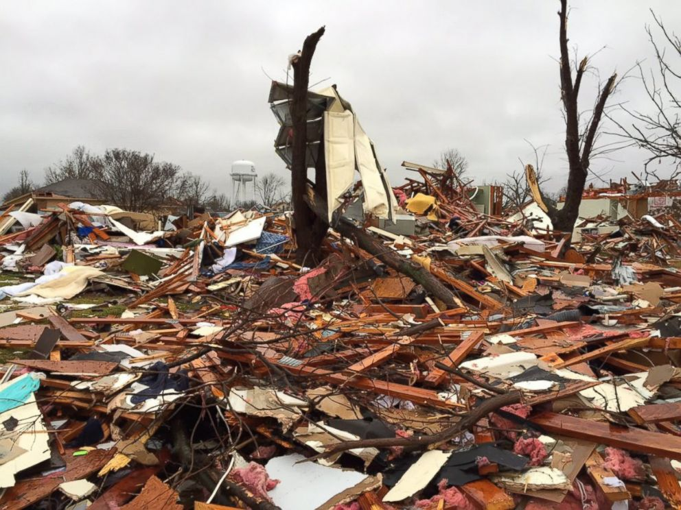 PHOTO: In Rowlett, Texas, a town neighboring Garland, a tornado hit that measured at least an EF3 level -- meaning it had winds over 135 miles per hour, said the National Weather Service Fort Worth survey team.