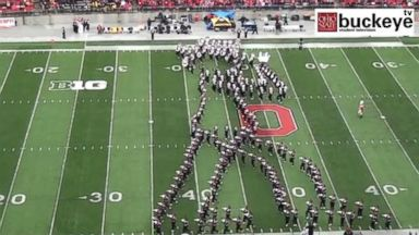 PHOTO: The Ohio State Marching Band paid tribute to Michael Jackson during one of their halftime shows.