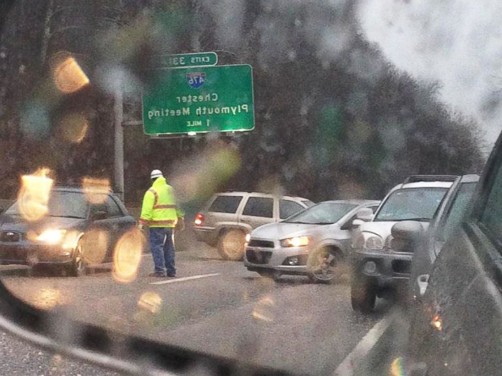 PHOTO: A reflection from a car side mirror near I76, Massive clean up. Emergency responders are directing us out of here, Jan. 18, 2015.