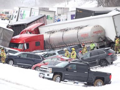 PHOTO: PennLive.com posted this photo to Twitter on Feb. 13, 2016 showing more than a dozen vehicles involved in a multi-fatal crash on I-78 in Lebanon County.