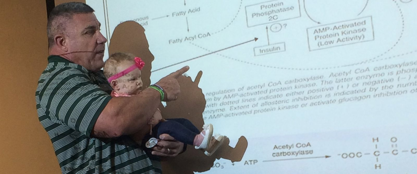 PHOTO: Baylor University professor Dr. Darryn Willoughby held his student Katy Humphreys 4-month-old baby through an hour-long lecture after Humphreys babysitter called in sick, she said.