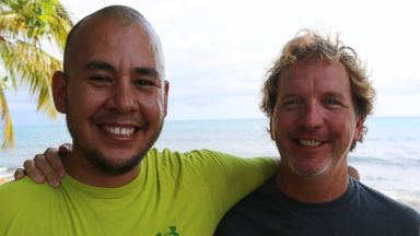 PHOTO: Juan Arredondo and John Thompson in Rincon, Puerto Rico after a dive in Desecheo Island.