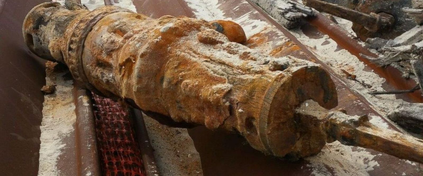PHOTO: A photo of debris from a shipwreck unearthed in Brick, New Jersey