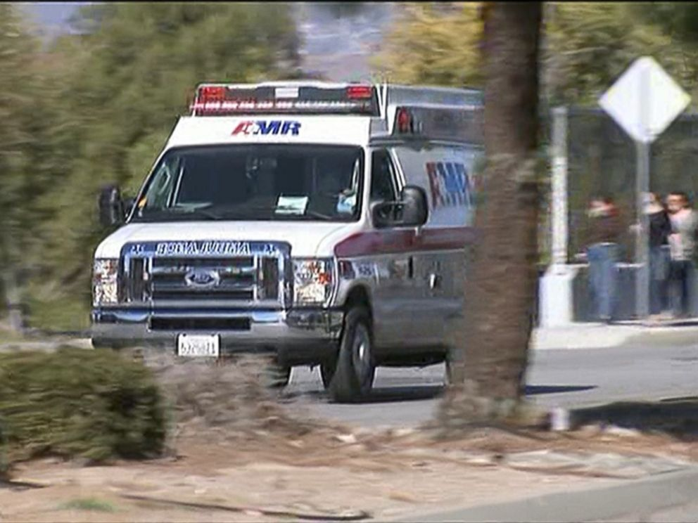 An ambulance respond to an active shooter situation in San Bernadino, Calif., Dec. 2, 2015..