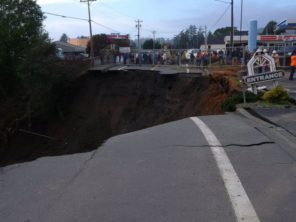 PHOTO: Oregon DOT posted this photo on their Twitter page with this caption: U.S. 101 in #Harbor (MP 358) will close at 9 p.m. due to a #sinkhole - Watch for advance signs for the detour, Jan. 28, 2016.