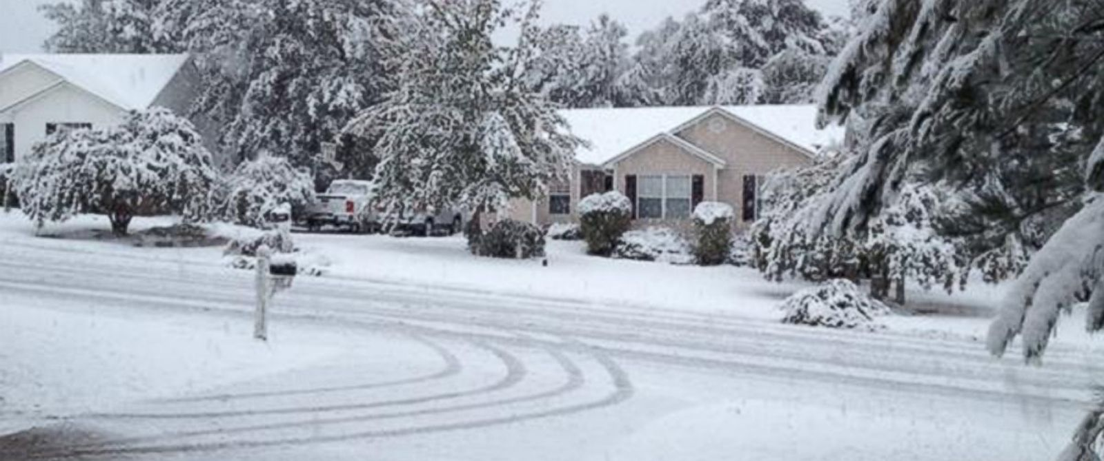 PHOTO: Snow covering the ground in Lexington, South Carolina on the first day of November.