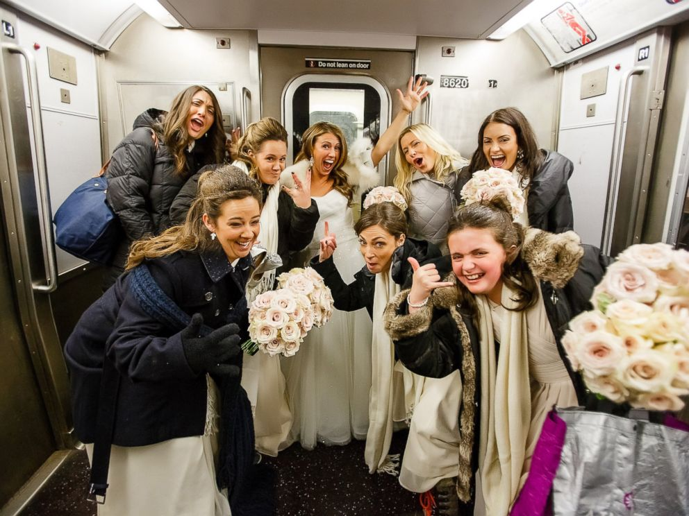 PHOTO:When a travel ban was put in place due to the inclement weather on Sat. Jan. 23, bride Ashley Burlage and her wedding party took the subway to the ceremony.