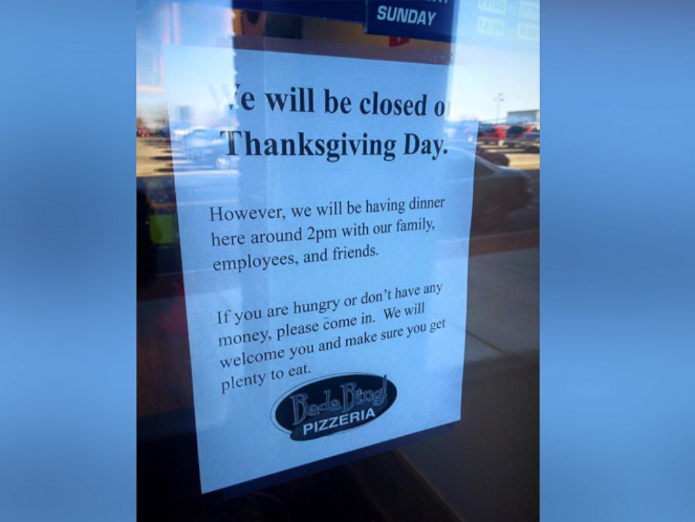 PHOTO: Bada Bing! Pizzerias charitable message has gone viral.