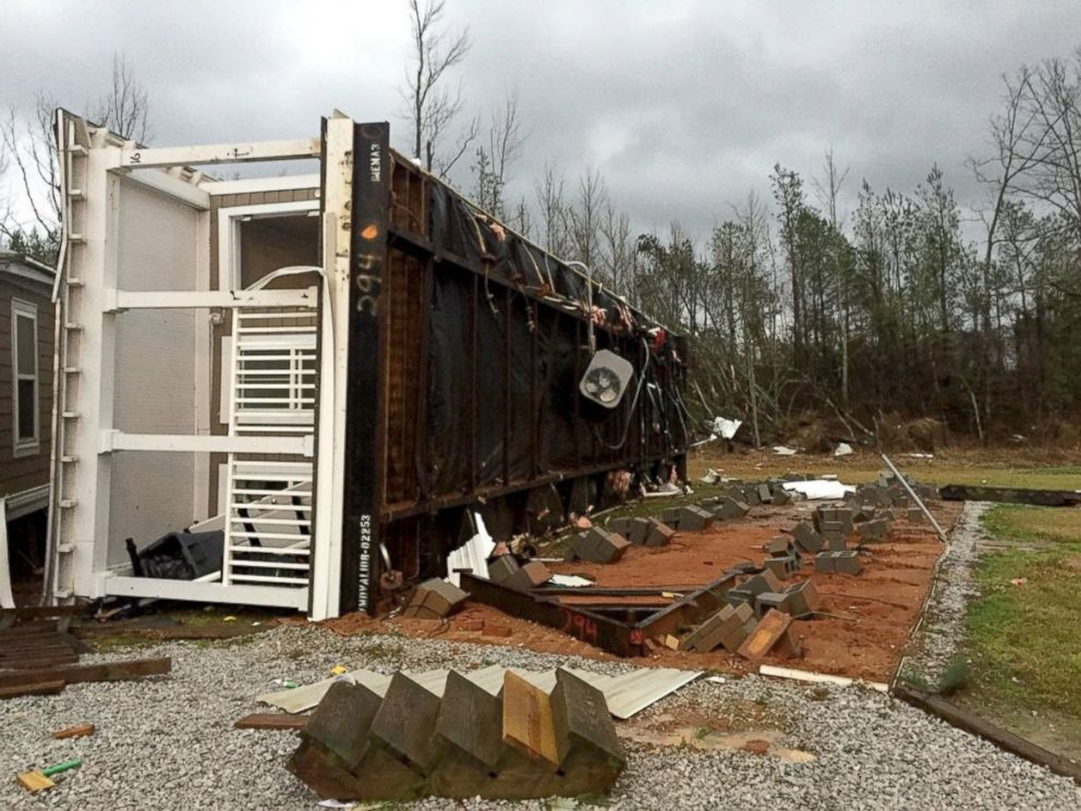 PHOTO: A dangerous tornado flipped over a building at the East Mississippi Community College in the town of Scooba.