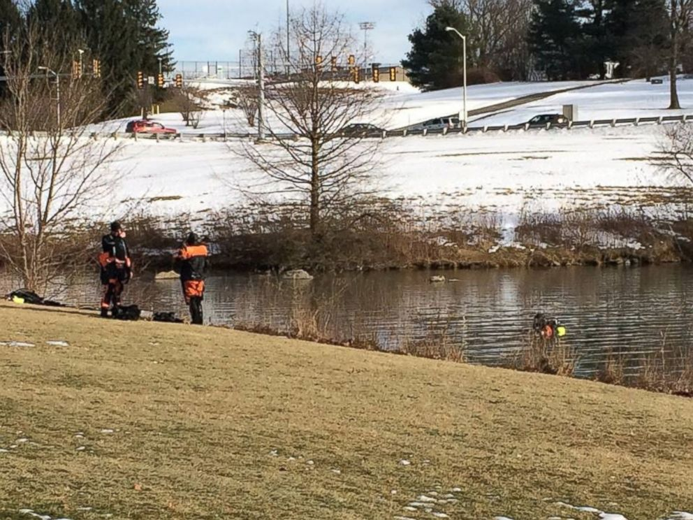 PHOTO: The Virginia State Police Search & Recovery Team divers searched a pond on the Virginia Tech campus in connection to the abduction/murder of Nicole Lovell, Jan. 31, 2016.