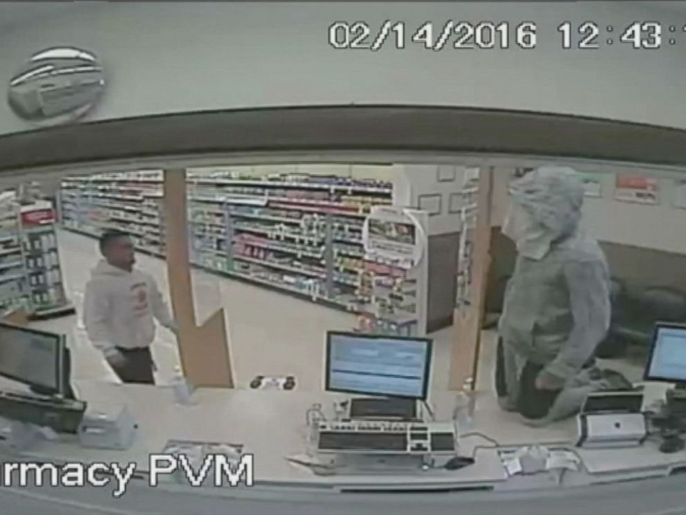 PHOTO: Anthony Nemeth, right, allegedly jumped on the counter of a Walgreens pharmacy in Bradenton, Florida, and demanded Oxycodone pills, according to police.