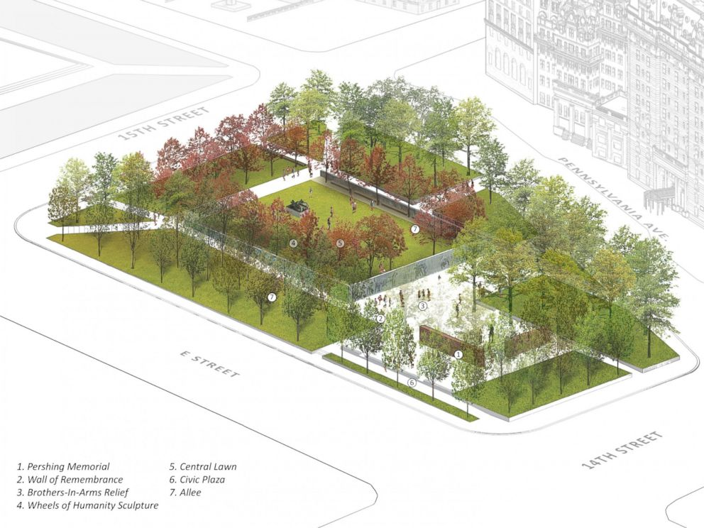 PHOTO: The winning design, as seen from this aerial rendering, features an expansive green space and bronze reliefs.