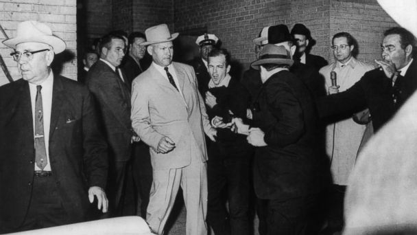 PHOTO: Jack Ruby is seen shooting Lee Harvey Oswald, the alleged assassin of John F. Kennedy in the underground section of Dallas Police headquarters, Dallas, Nov. 24, 1963.