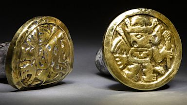 PHOTO: Seen here are a pair of gold-and-silver ear ornaments that archaeologists believe a high-ranking Wari woman wore to her grave, the imperial tomb at El Castillo funerary complex, in Huarmey, Peru.