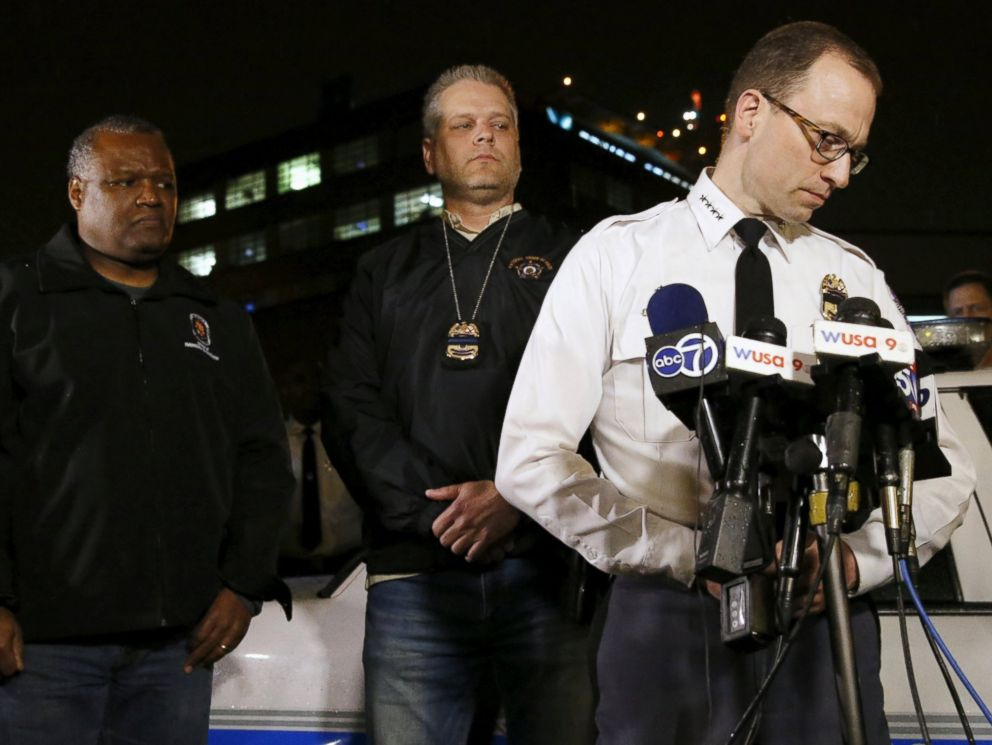 PHOTO: Prince Georges County Police Chief Hank Stawinski in white shirt, confirming one of their officers was shot and killed during remarks at a news conference at Prince Georges Hospital Center in Cheverly, Maryland March 13, 2016.