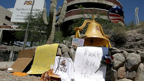 PHOTO: A memorial in honor of Pat Tillman stands outside of Sun Devil Stadium in Tempe, Ariz.