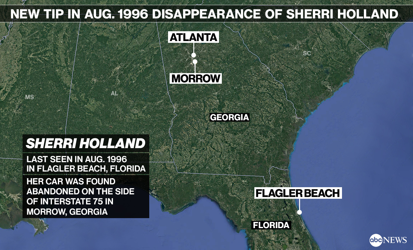Anonymous tip prompts new search for woman who vanished in Georgia more than 20 years ago SherriHollandMap 6618 SD