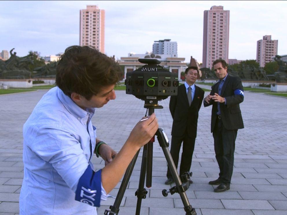 PHOTO: ABCs Bob Woodruff and Ronnie Polidoro prepare Jaunts 360 degree camera in Pyongyang, North Korea.