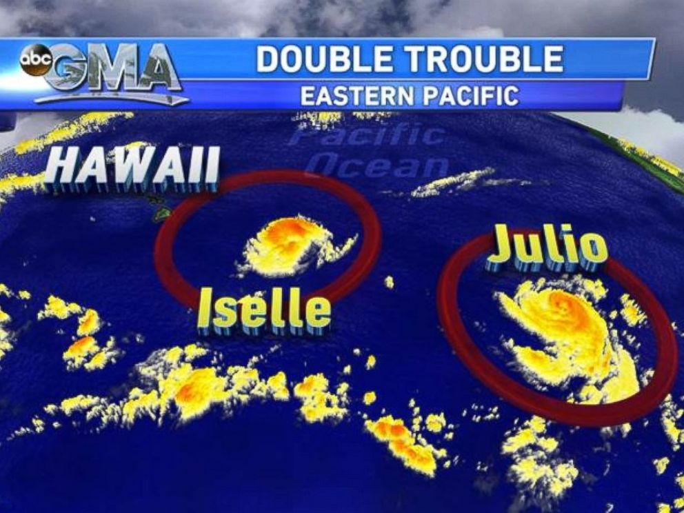 A satellite view of Iselle and Julio from Aug. 7, 2014.