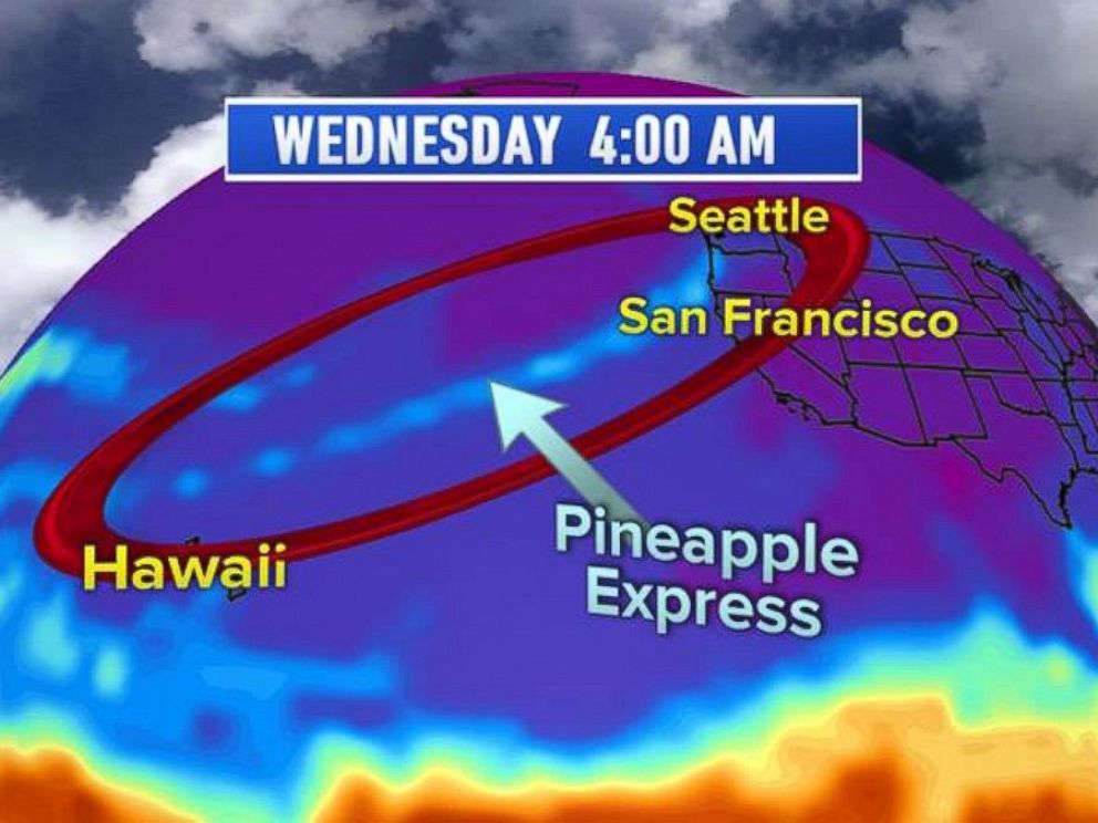 PHOTO: Pineapple Express: The Pineapple Express is a plume of moisture originating from the vicinity of the Hawaiian Islands and extending to the Northwest U.S.