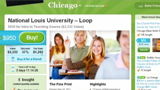 VIDEO: Internet discount site offers reduced rate on National Louis University course.