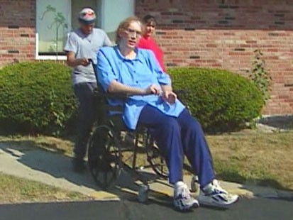 Picture of Sandy Allen in a wheelchair.