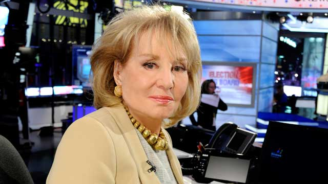 PHOTO: Barbara Walters poses during the election coverage for ABC News, Nov. 6, 2012.