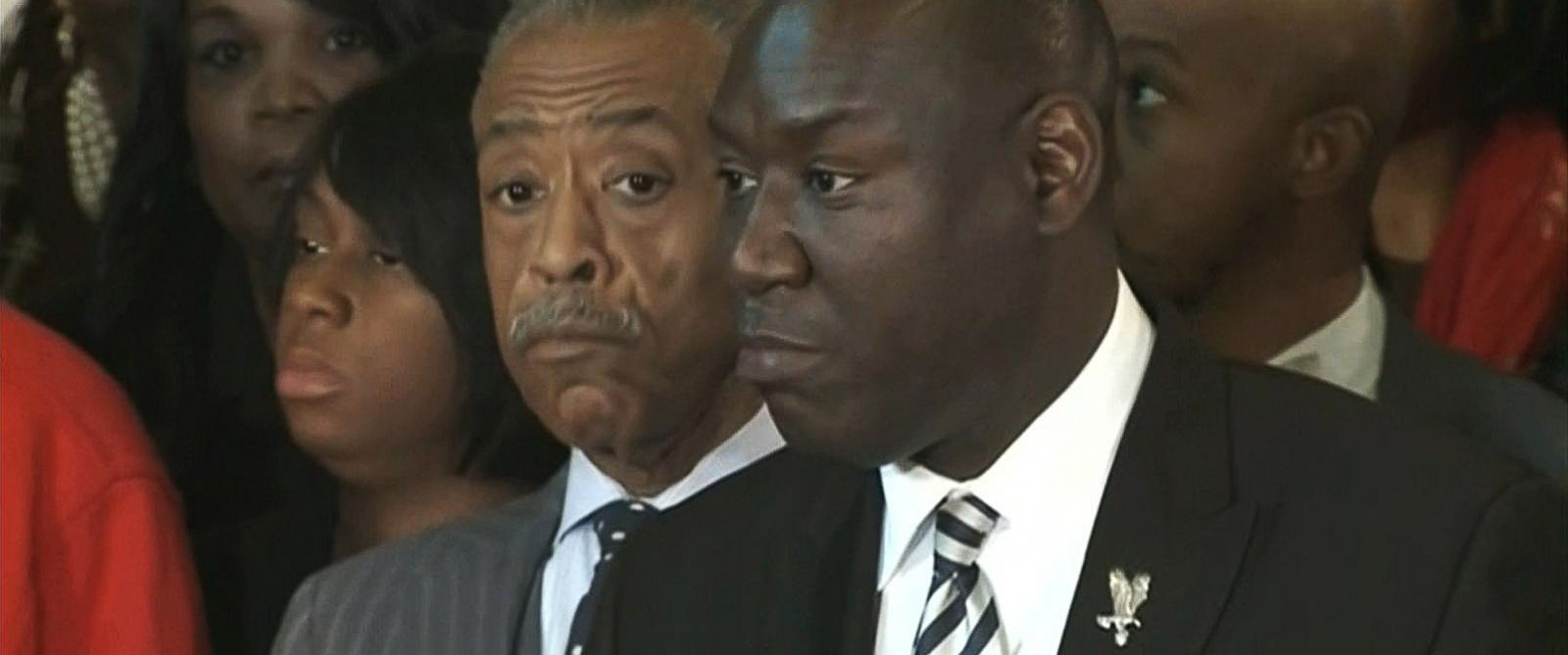 PHOTO: The lawyer for Michael Browns parents, Benjamin Crump, along with Rev. Al Sharpton, give a press conference on Nov. 25, 2014.