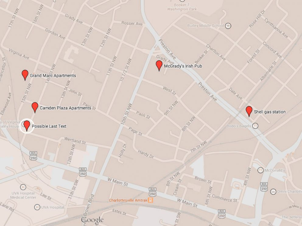PHOTO: A map of some of the last known locations of Hannah Graham, a University of Virginia student who was reported missing on Sept. 13, 2014.
