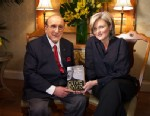 """PHOTO: Music industry titan Clive Davis, holding his new book, """"The Sound Track of My Life,"""" sat down for an interview with """"Nightline"""" anchor Cynthia McFadden."""