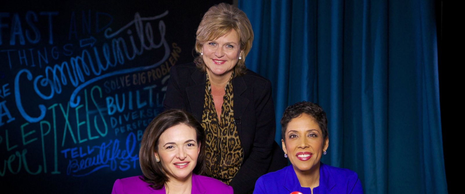 """PHOTO: """"Nightlines"""" Cynthia McFadden interviews Facebook COO Sheryl Sandberg and CEO of Girl Scouts USA Anna Marie Chávez about their new public service campaign, """"Ban Bossy."""""""