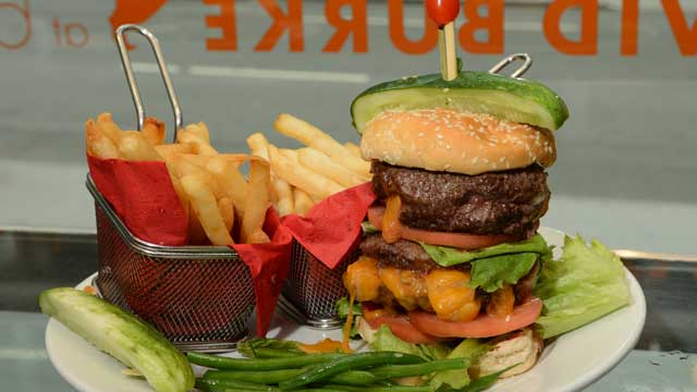 PHOTO: David Burke's Double Juicey Burkey Burger is served at his Bloomingdale's location in New York City, July 25, 2012.