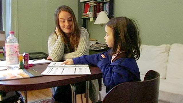 PHOTO: Sasha Barnett, left, tutors Elaina Berman for the exam that determines eligibility for New York Citys Gifted & Talented kindergarten program.