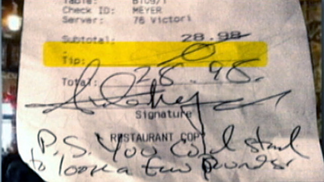PHOTO:Bartender Stiffed on Tip, Insulted by Customer