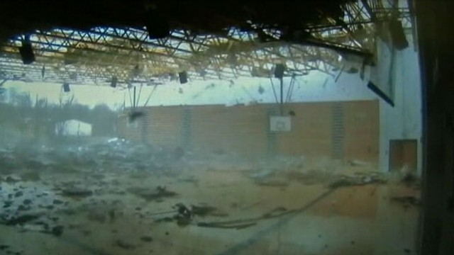 VIDEO: The powerful storm is caught on tape by school security camera.