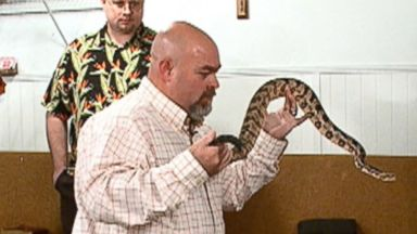 PHOTO: Jamie Coots, the pastor of the Full Gospel Tabernacle in Jesus Name in Middlesboro, Ky., and his followers believe that God calls upon them to handle venomous serpents.