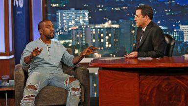 "PHOTO: Jimmy Kimmel welcomed Kanye West to ""Jimmy Kimmel Live"", Oct. 9, 2013."