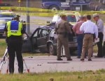 PHOTO: A suspect driving a black Cadillac with Colorado plates led authorities on  car chase across two Texas counties that ended with a car crash and shootout, severely injuring the driver of the Cadillac, on March 21, 2013.